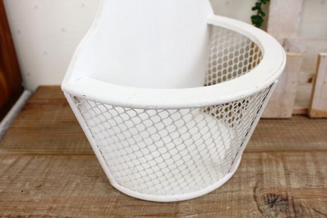 ホワイトシャビーハーフバスケット