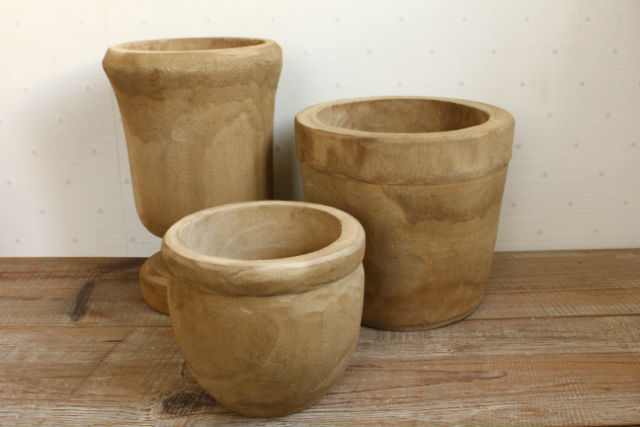 カービングポット/HOLE 木製鉢 鉢カバー