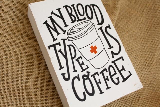 ウッデンミニサインボード/BLOOD TYPE