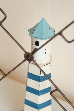 ブリキオブジェ・風車ブルーボーダー